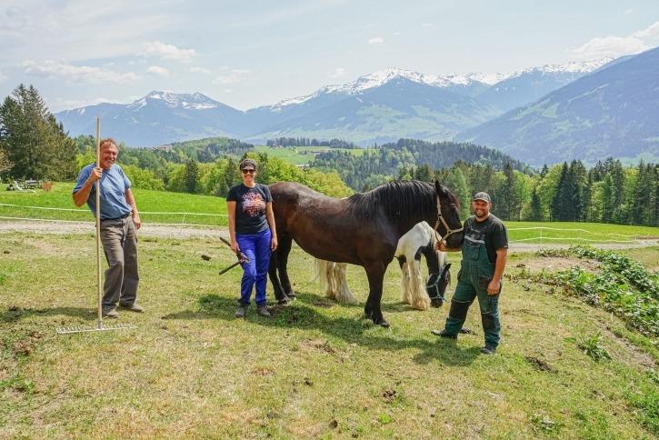 Familie Kerscher mit Martin Senior (l.) und Martin Junior (r.) freuen sich mit Helferin Gabriele über die freigeräumte Weide für die Rinder und Pferde.