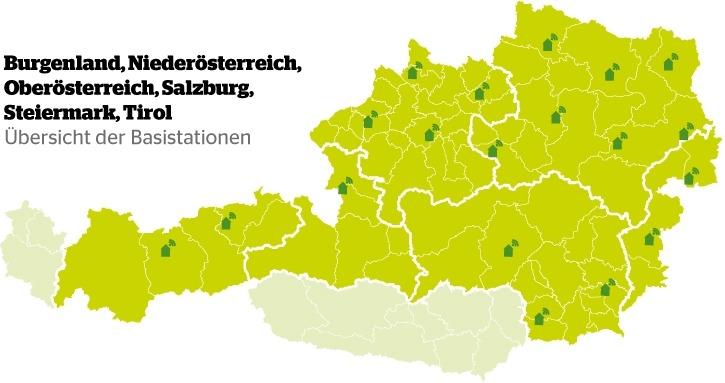 Die Karte zeigt die Standorte der Maschinenring Mobil RTK Stationen