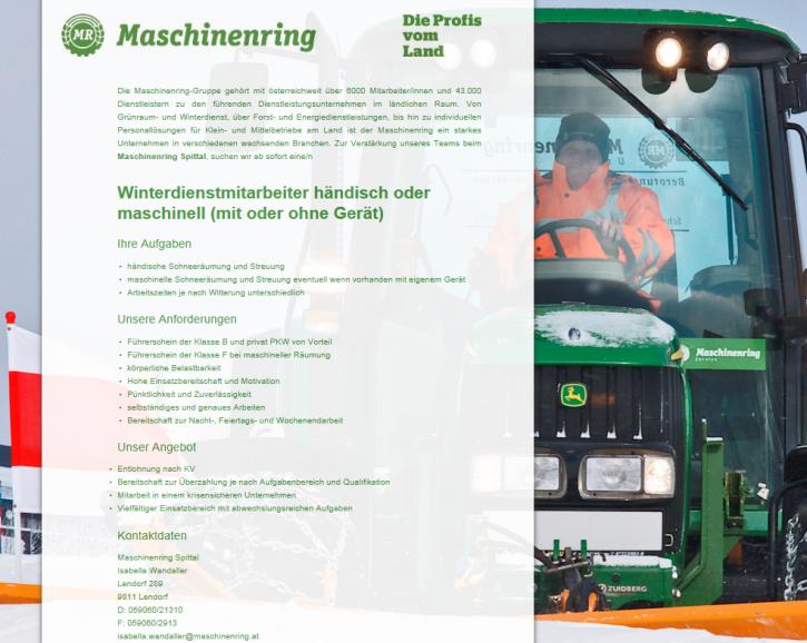 Winterdienstmitarbeiter - Maschinenring Spittal